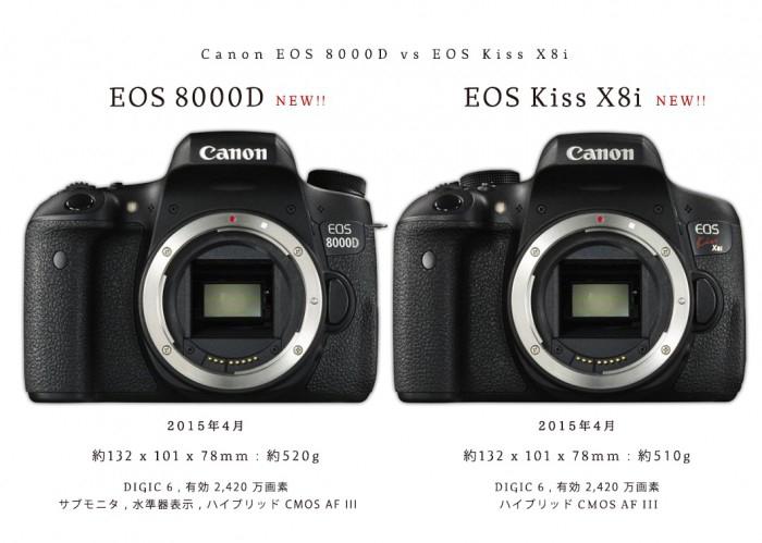 キヤノン EOS 8000D vs Kiss X8i vs Kiss X7i 比較。Canon APS-C新初級機2機種の違いと新機能